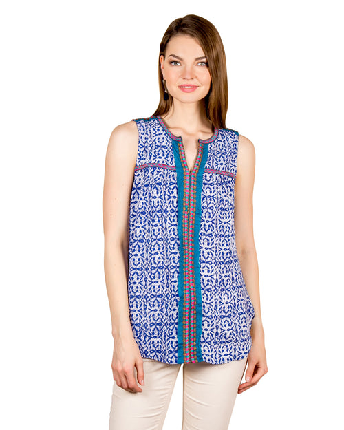 Embroidered Printed Sleeveless Blue Tunic Tops