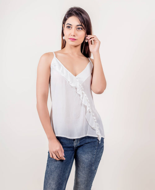 Frilled White Rayon and Georgette Strapped Tunic Top