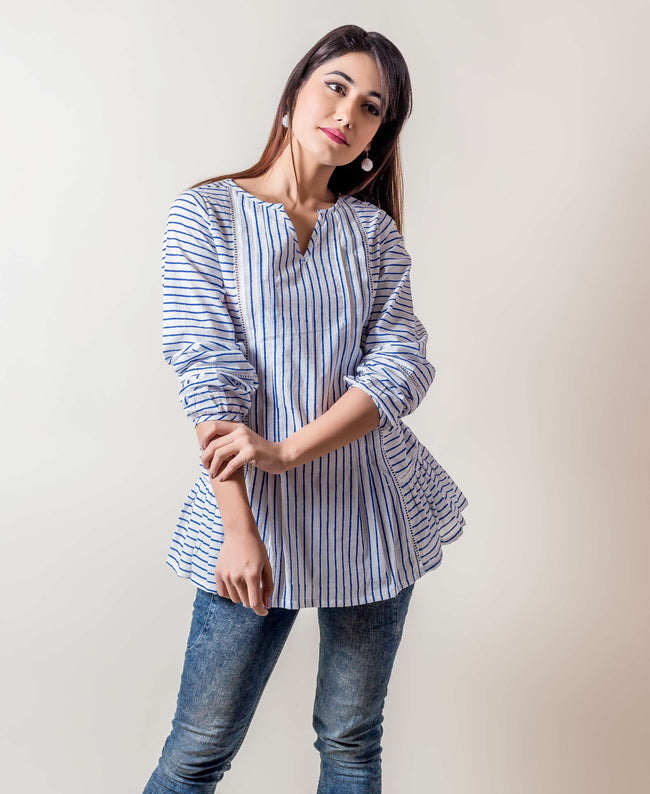 Full Sleeved Striped Cotton Tops online shopping india