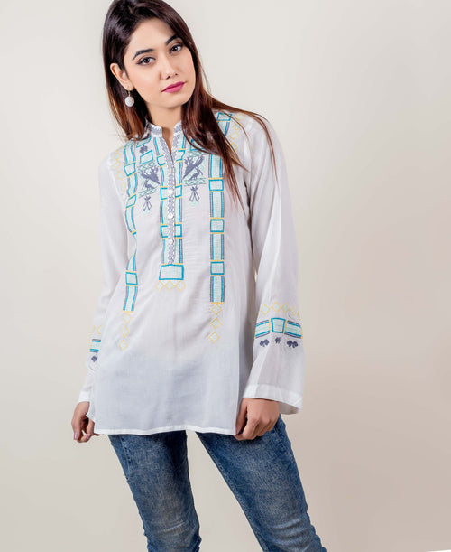 Full Sleeves White and Aqua Embroidered Short Tops