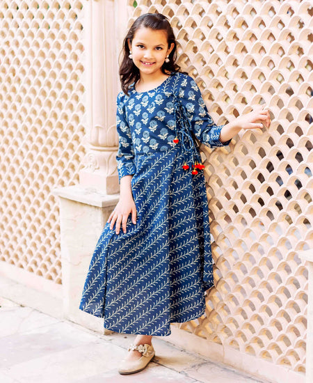 Tie-Dye Cotton Printed Asymmetrical Ethnic Dress for Baby Girls