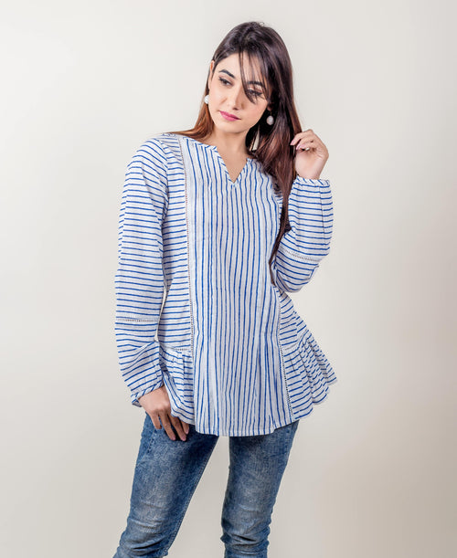 Hand Block Printed Full Sleeved Striped Cotton Tops