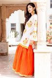Orange and White Bell Sleeved Indian Ethnic Kurti with Skirts