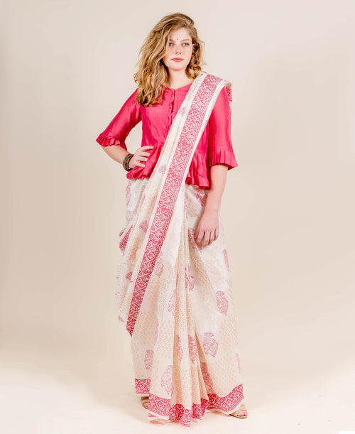 Chanderi Silk Coral and White Hand Block Printed Sarees