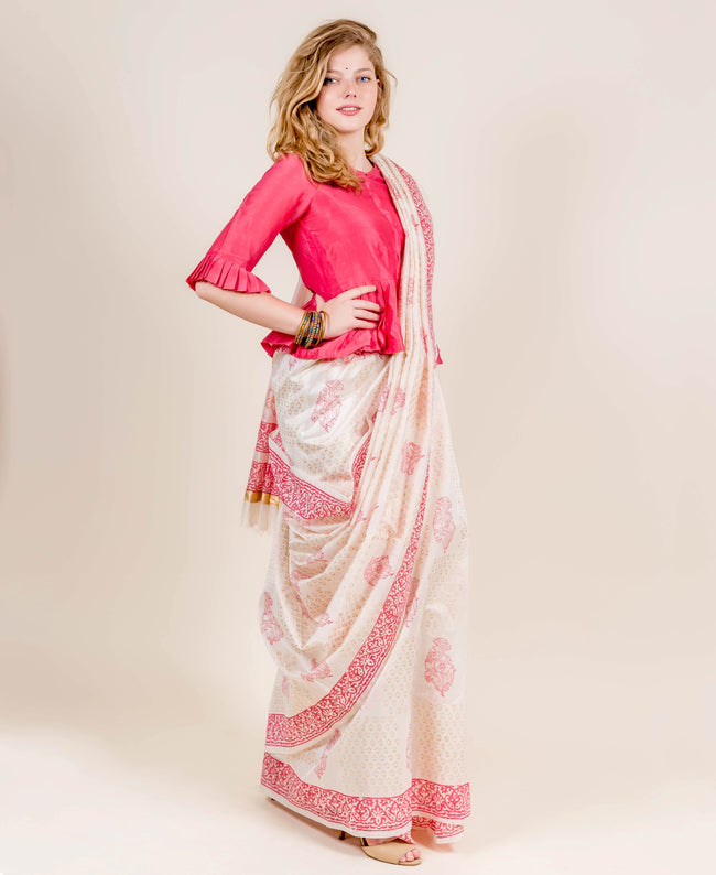 Coral and Ivory Indian Hand Block Printed Sarees