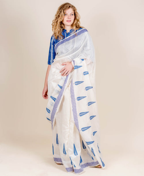Blue and Ivory Hand Block Printed Chanderi Silk Sarees Online for Women