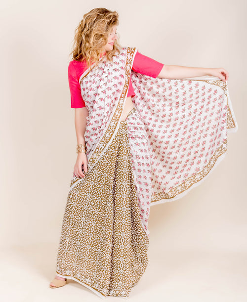 White and Brown Tussar Silk Block Printed Cotton Sarees Online Shopping