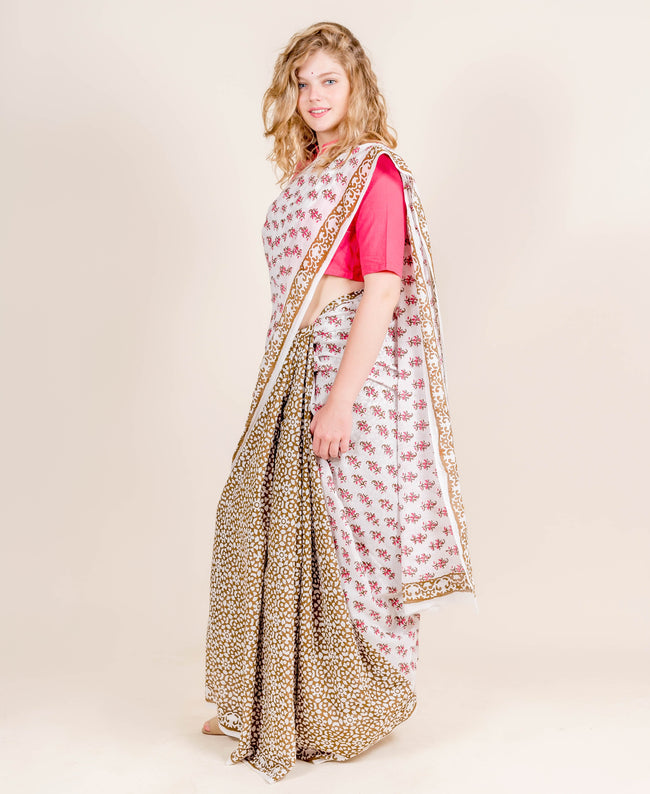 Tussar Silk White and Brown Indian Block Printed Cotton Sarees for Women Online