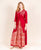 Gotta-Patti Red Hand Block Printed Kurti with Skirt