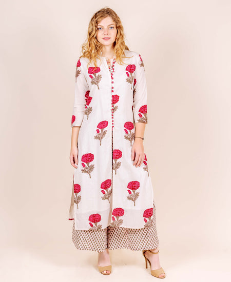 Crew Neck Tulip Cut Floor Length Embroidered Kurti
