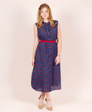 Indigo Blue Indian Hand Block Printed Sleeveless Dress with Belt