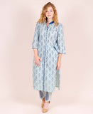 Stand Collar Bell Sleeves Straight Cotton Kurta with Printed Pants