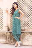 Green Cotton Printed 3/4 sleeves Dhoti with Kurti and Detachable Jacket