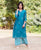 Straight Teal Blue Hand Block Printed Kurta ( 1 Pcs. )