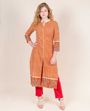 Centre Slit Orange Hand Block Printed Indo Western Kurta