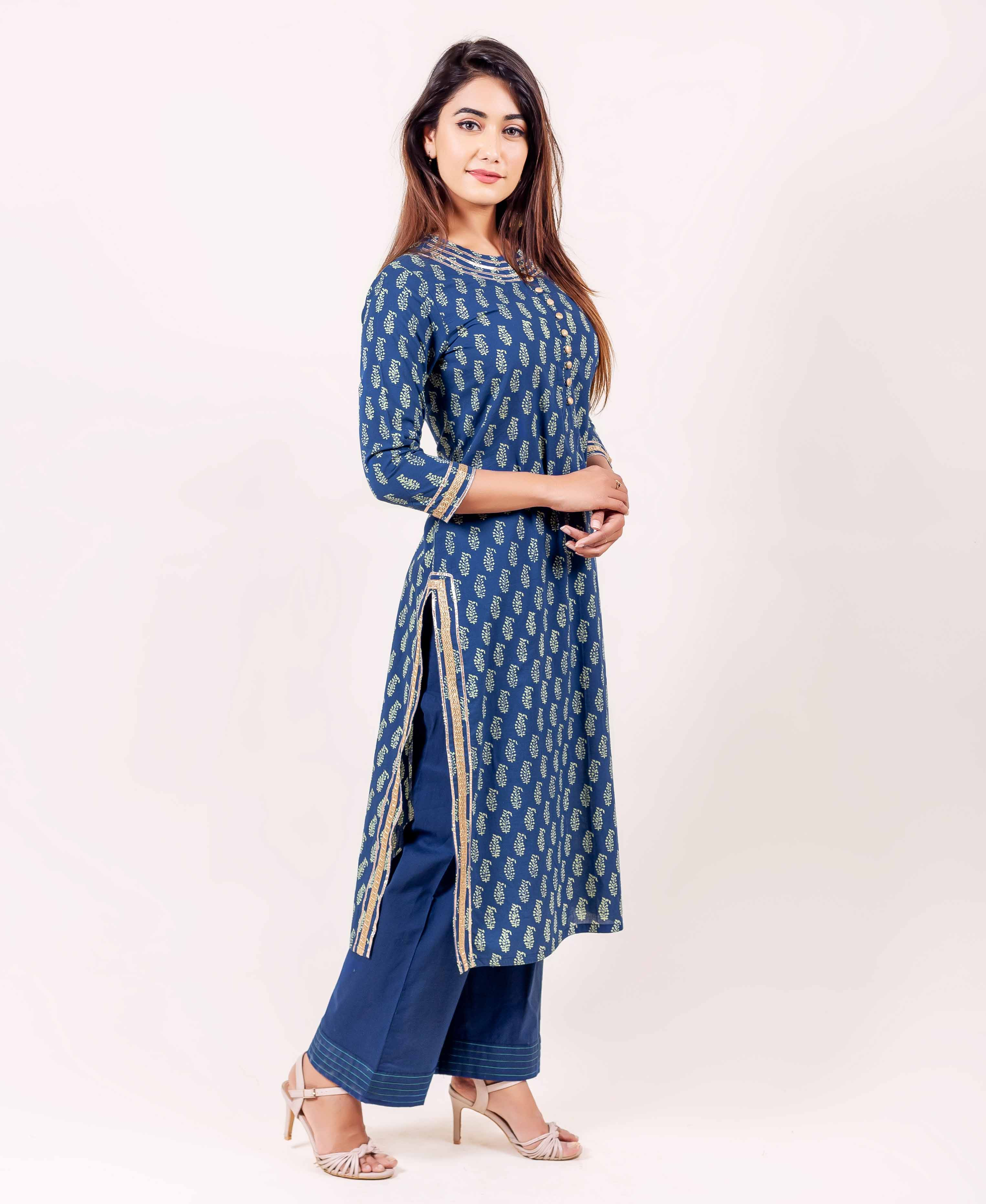 Indigo Straight Cut Kurta With Gota Lace Trim