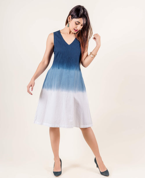 Long Blue and White Tie Dye Sleeveless Cotton Dresses