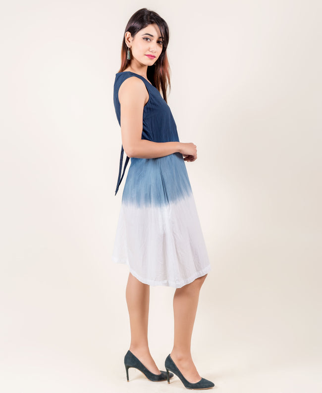 Long Blue and White Tie Dye Sleeveless Cotton western Dresses online