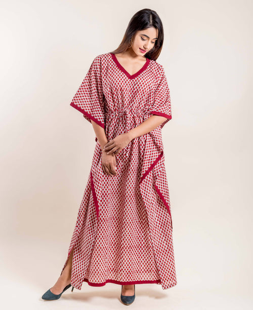 Block Print Kaftan Sleeves Maroon Floral Tie-Up Nightwear Kaftan Online