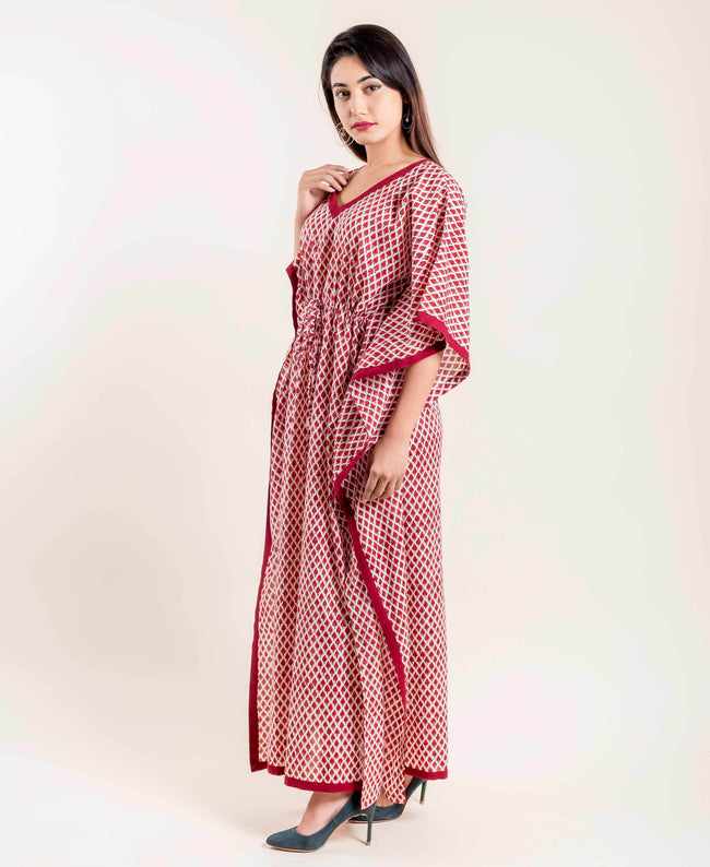 Block Print Kaftan Sleeves Maroon Floral Tie-Up Long Kaftan Nightwear