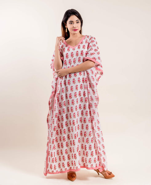 Flared Hemline Pink White Indian Hand Block Printed Long Kaftan Nightwear Online