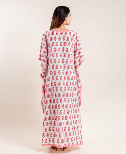 Hand block printed cotton kaftan for women online india