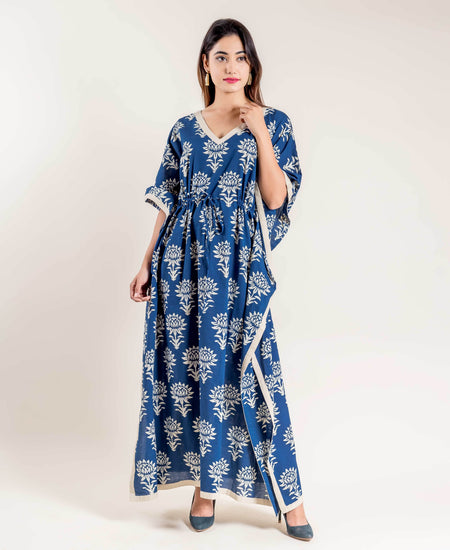 Block Printed V-Neck Style Blue White Full Length Kaftan