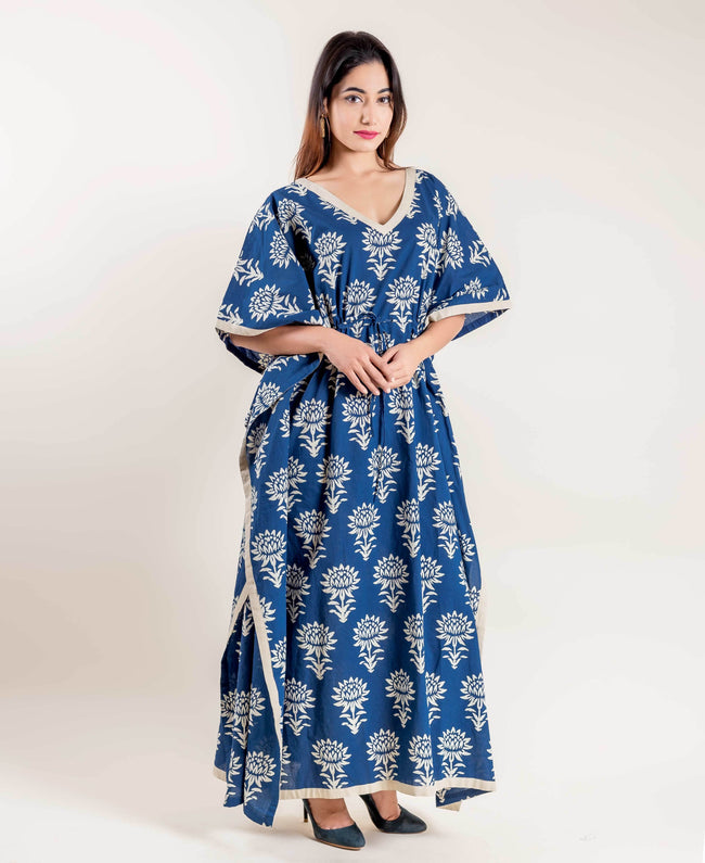 Indigo Blue Block Printed Tie-Up Full Length Kaftan for Women Online