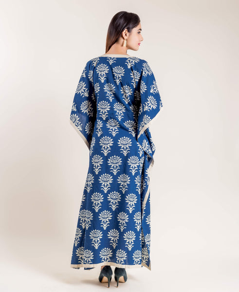 Indigo Blue Cotton Printed Floor Length Kaftan with Adjustable Waist Line