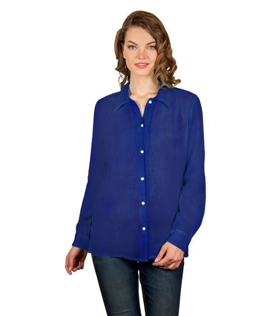 Peacock Blue Long Sleeves Collared Button-down Shirt