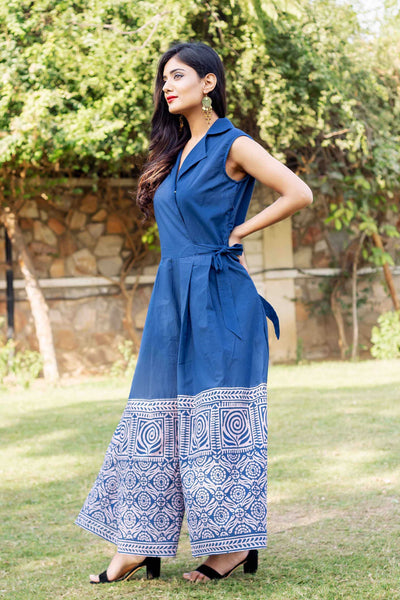 Perfect Fit Indigo Blue Hand Block Printed Cotton Jumpsuits Online