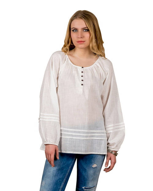Pleated Balloon Sleeves Cotton Tunic Tops In Antique White