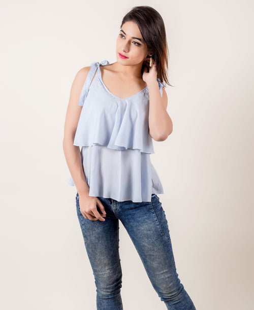 Rayon Layered Strapped Sky Blue Tops