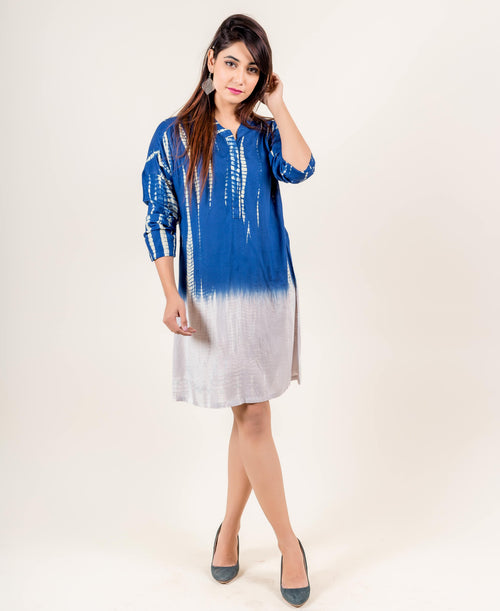 Rayon Tie Dye Full Sleeved Knee Length White and Blue Dresses