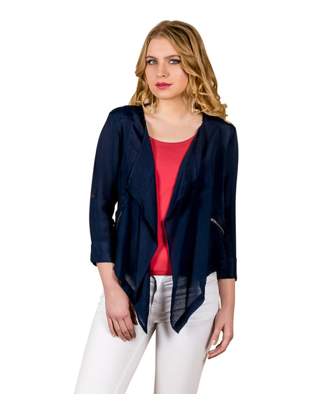 Roll-up Buttoned Sleeves Rayon Waterfall Shrug
