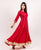 Red Flared Dress with Gota Trim