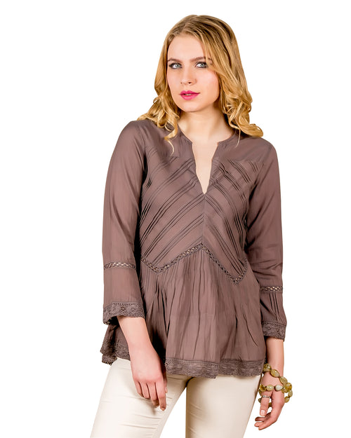 Rosewood Voile 3-4 Sleeves Pleated Tops
