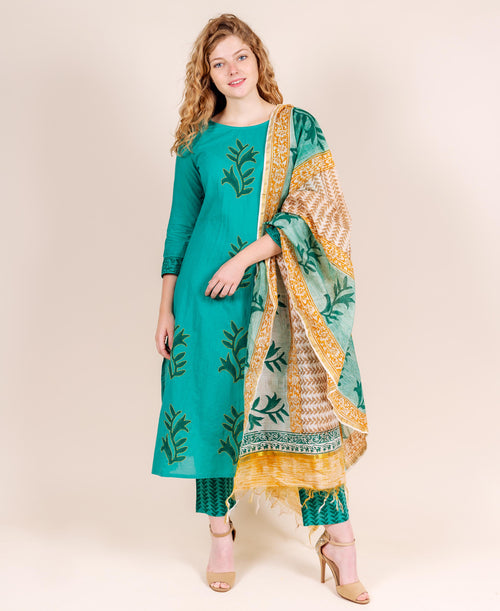 Block Printed Teal & Yellow Embroidered Suits Set with Dupatta
