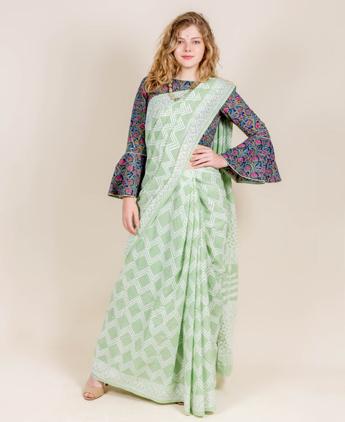 Multi Patterned Hand Block Printed Green Cotton Sarees Online