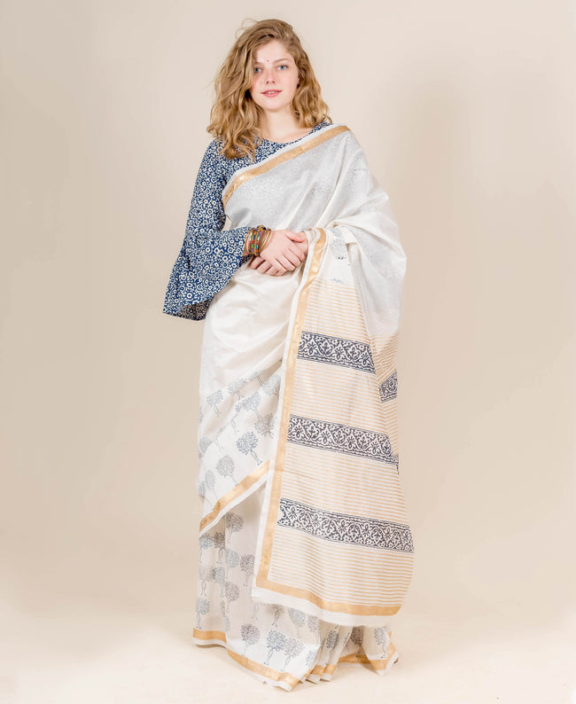 Gold Printed Ivory and Blue Chanderi Indian Block Printed Sarees Online Shopping