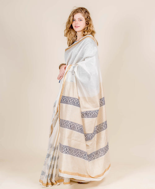 Gold Printed Ivory and Blue Chanderi Indian Block Printed Sarees