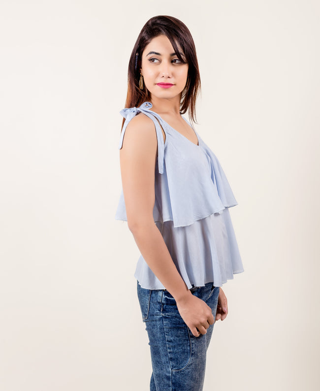 Sky Blue layered strappy tops online india