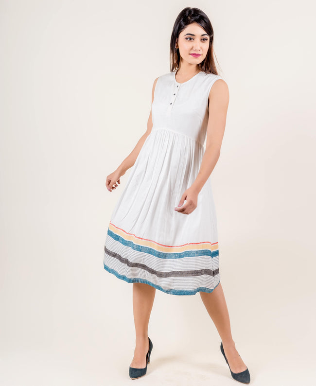 Sleeveless Multi Colored Hand Block Printed western Dress