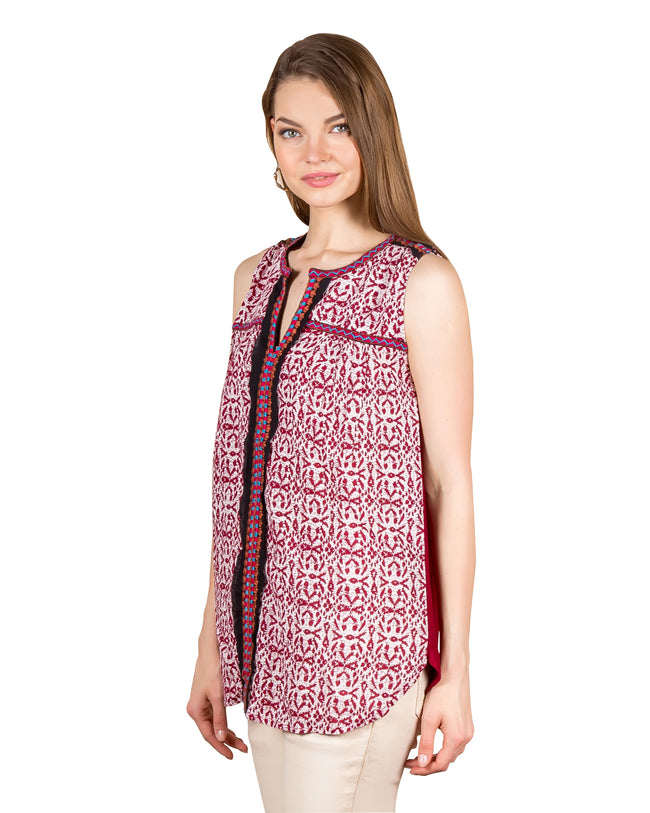 Sleeveless Printed Embroidered Tunic Top