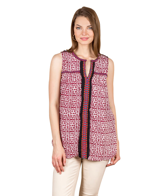 Sleeveless Shirt Style Prosaic Mosaic Print Embroidered Tunic Tops