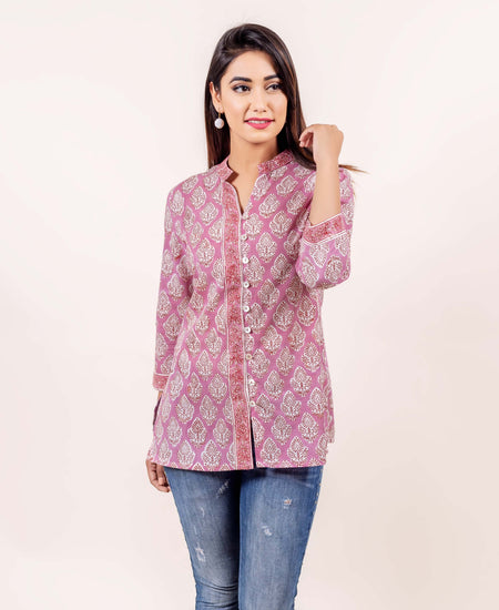 Red and White Block Printed Kurta with Stitch Detailing