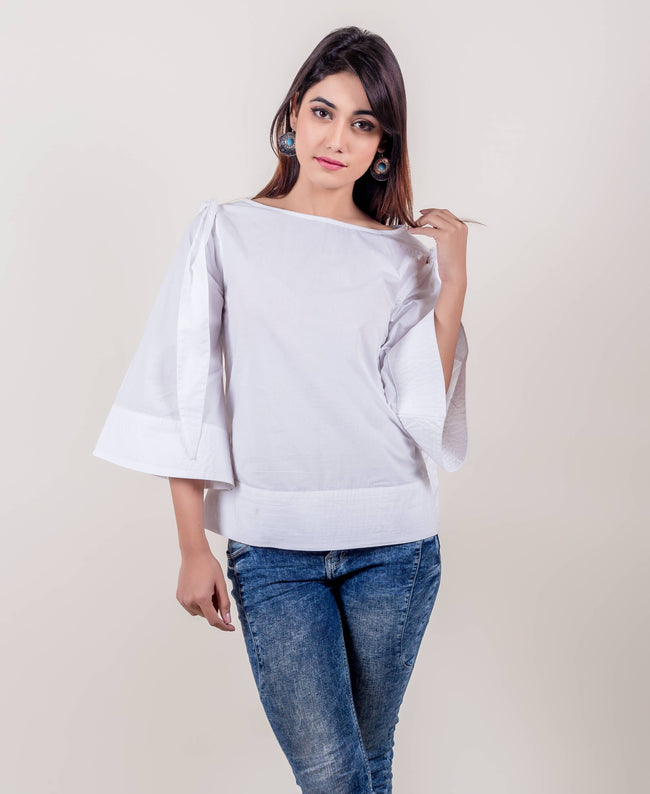 White Boat-neck Cotton Sheath Bell Sleeves Tops online