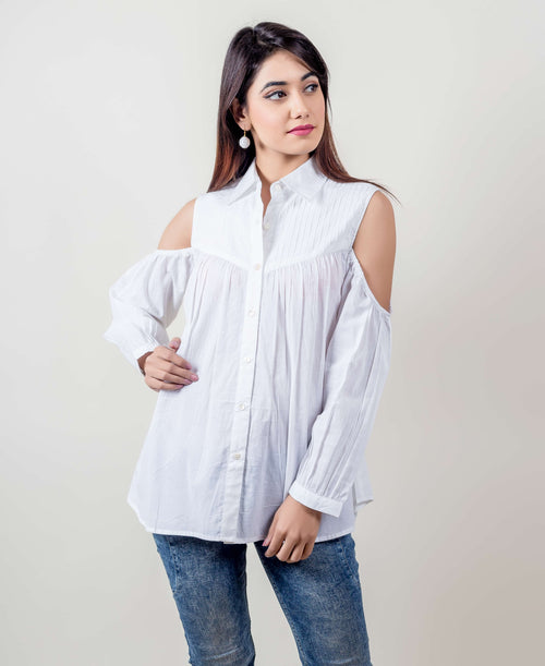 White Cold Shoulder Cotton Pleated Button Down Tops