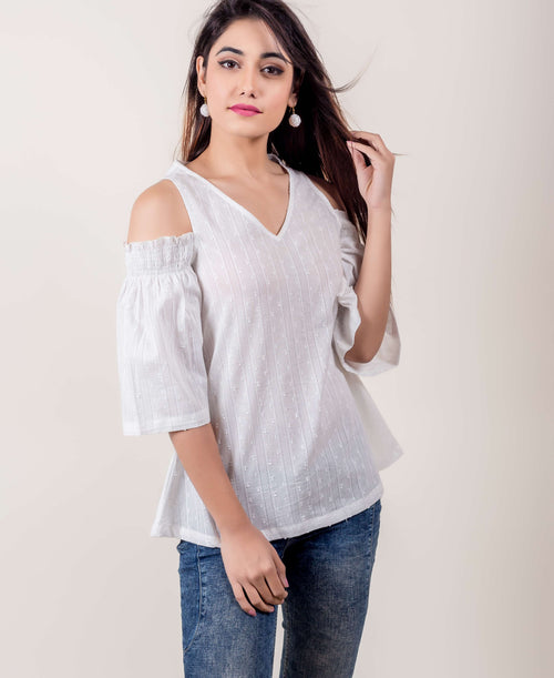 White Cotton Cold Shoulder Tunic Tops