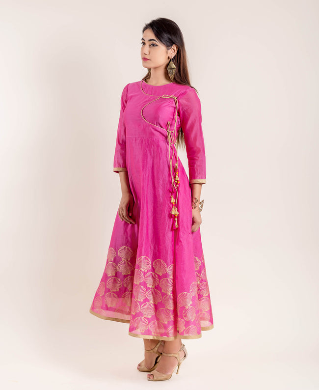 angrakha styles chanderi gown dress online india